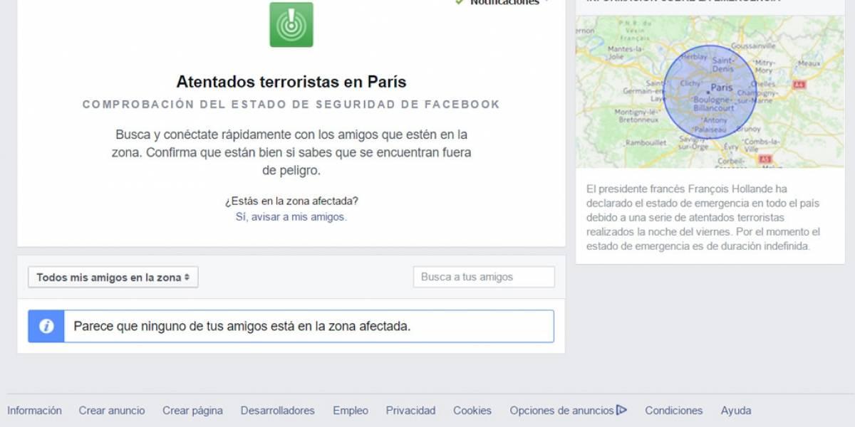 Facebook activó su comprobación de seguridad tras atentados en París