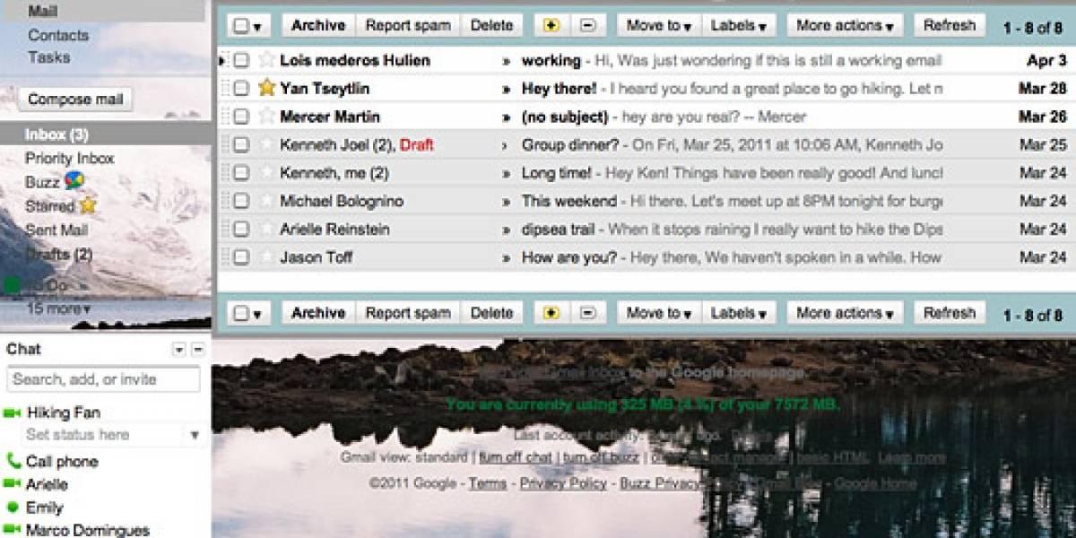 Gmail permite ahora configurar su fondo con una imagen a nuestra elección