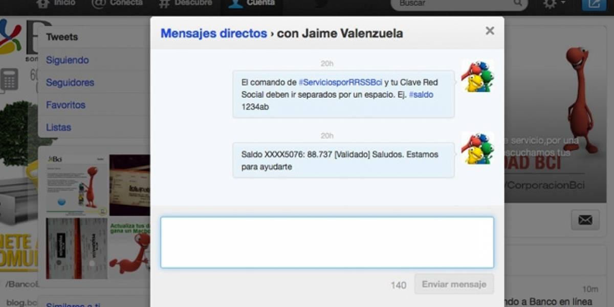 Chile: Banco BCI permitirá consultar el saldo de la cuenta corriente con un DM en Twitter