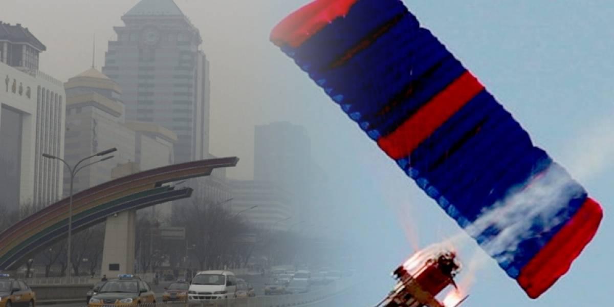 China está probando usar drones con parapentes para limpiar el smog de sus ciudades