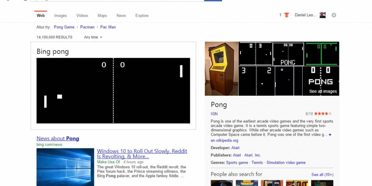 El juego Pong está disponible en el buscador Bing de Microsoft