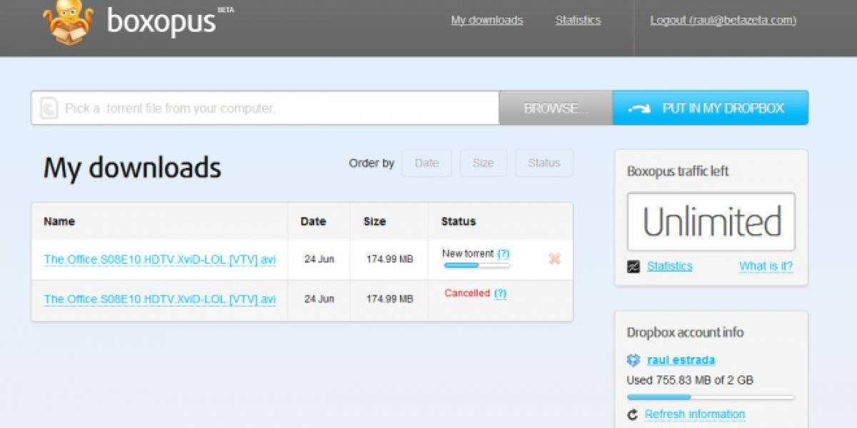 Boxopus descarga tus torrents y los envía a Dropbox