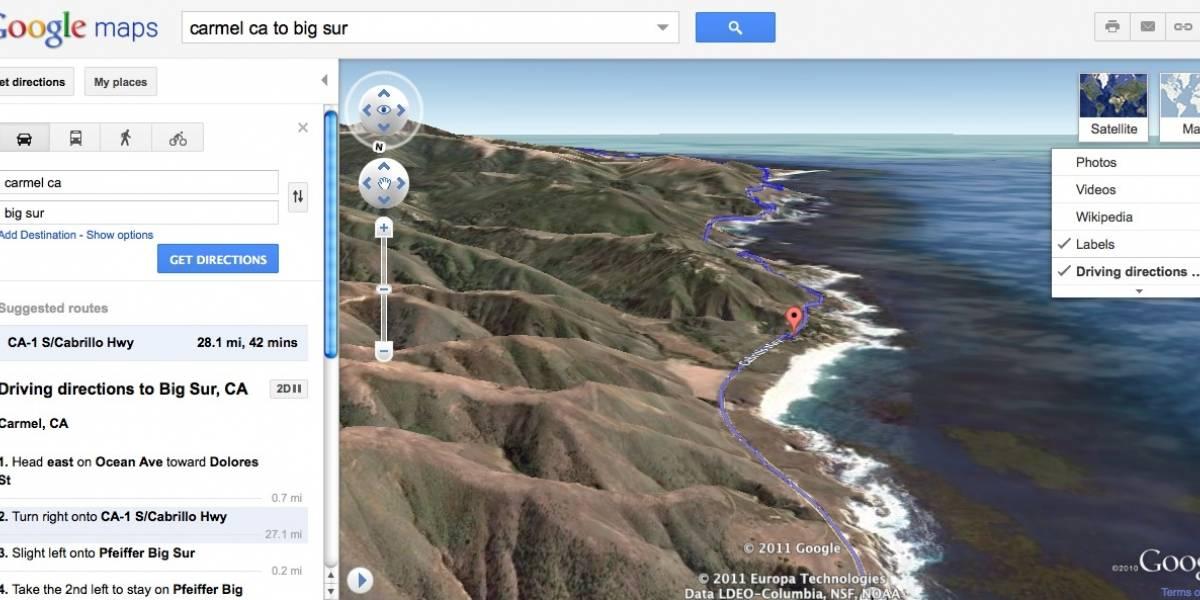 Google Maps lanza nueva manera de ver recorridos en el sitio