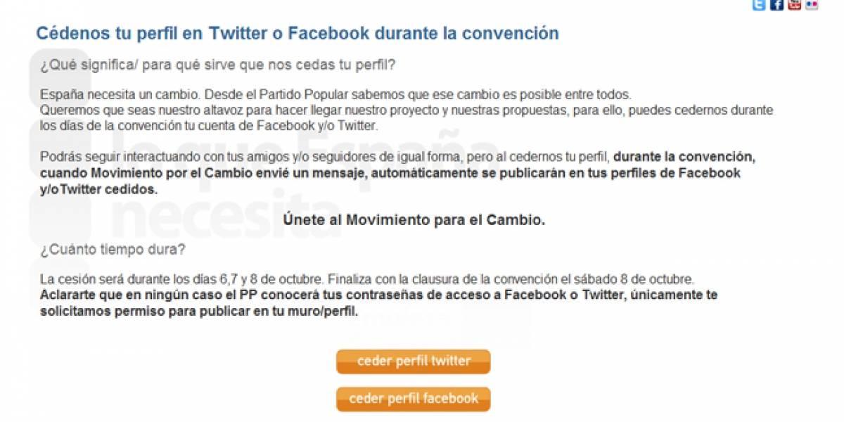 España: El PP pide a sus simpatizantes que cedan sus perfiles en Twitter y Facebook