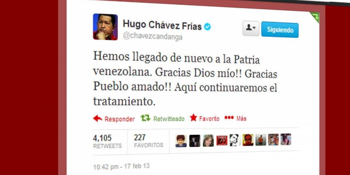Chávez anuncia vía Twitter su regreso a Venezuela