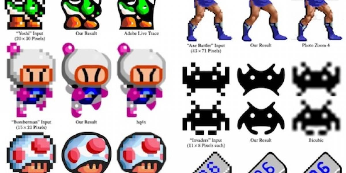 Nuevo algoritmo crea arte despixelando personajes de 8-bits