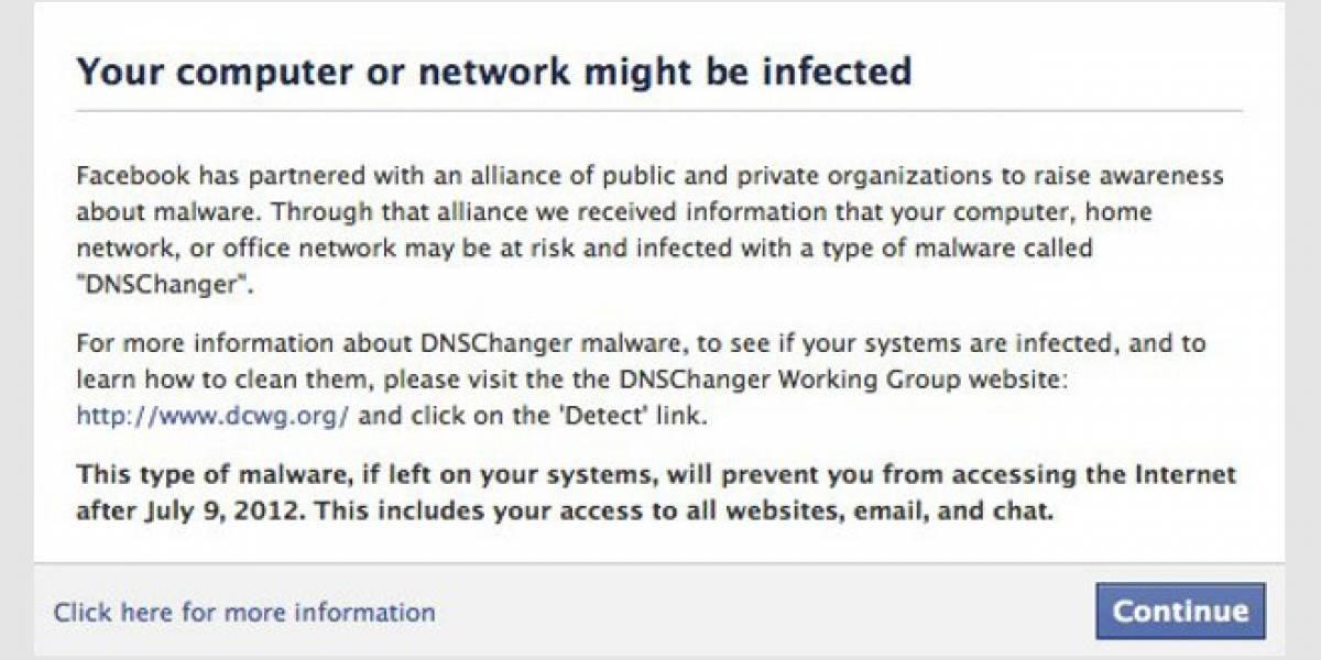 Facebook también avisa si estás infectado con DNSChanger