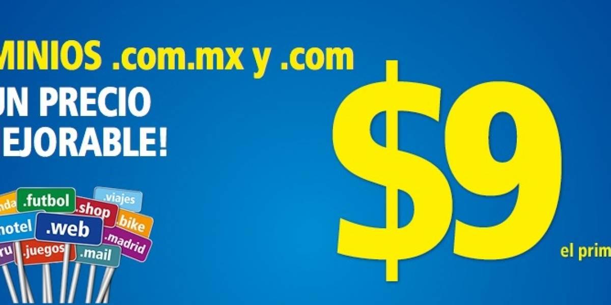 Registra un dominio .com o .com.mx por sólo 9 pesos con hosting gratis por un año