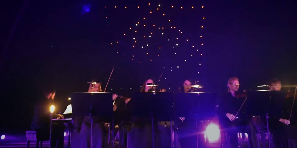 Intel rompe récord Guinness con 100 drones en el aire al ritmo de Beethoven