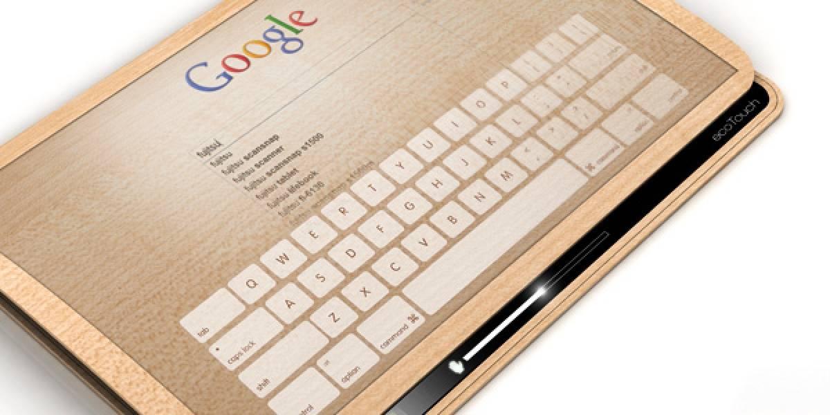 Concepto de tablet que usa piezoelectricidad para recargarse
