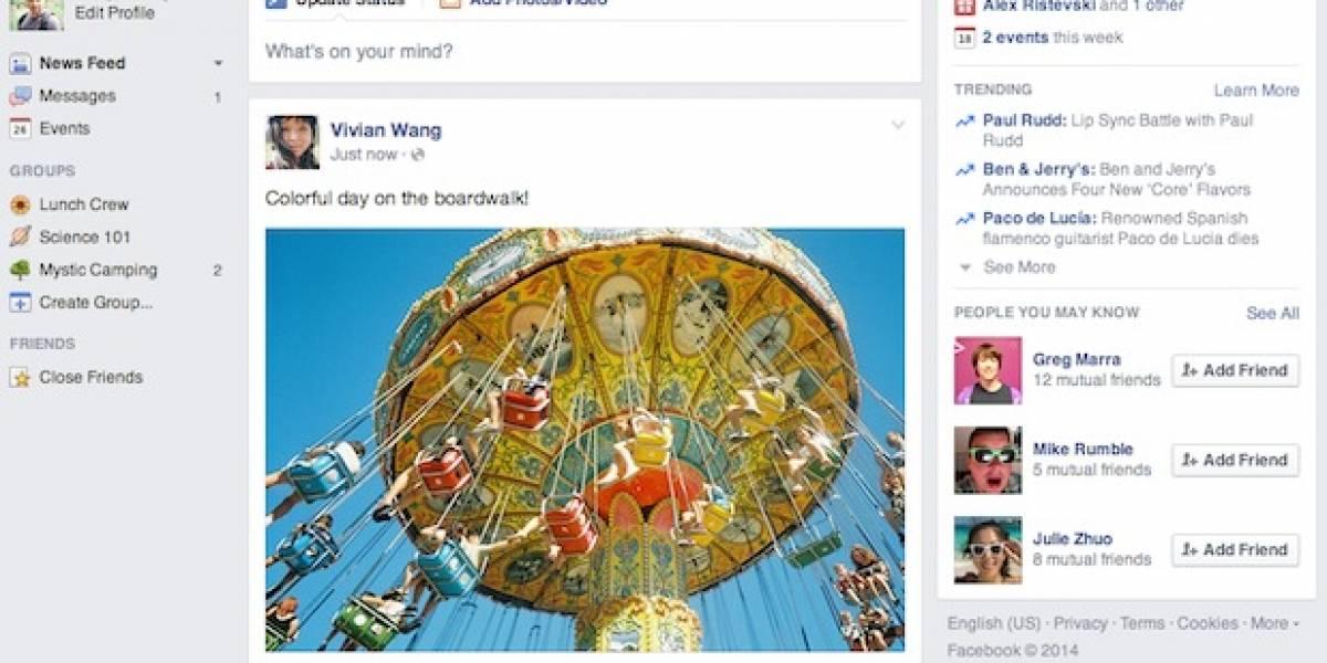 Facebook despliega por fin nuevo diseño de su página web