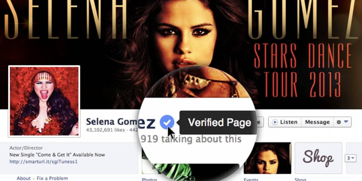 Facebook ahora verifica los perfiles de las celebridades