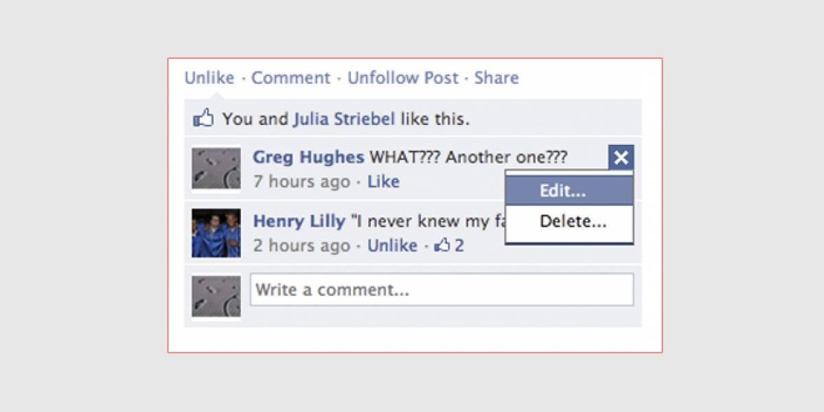 Facebook agrega opción para editar comentarios