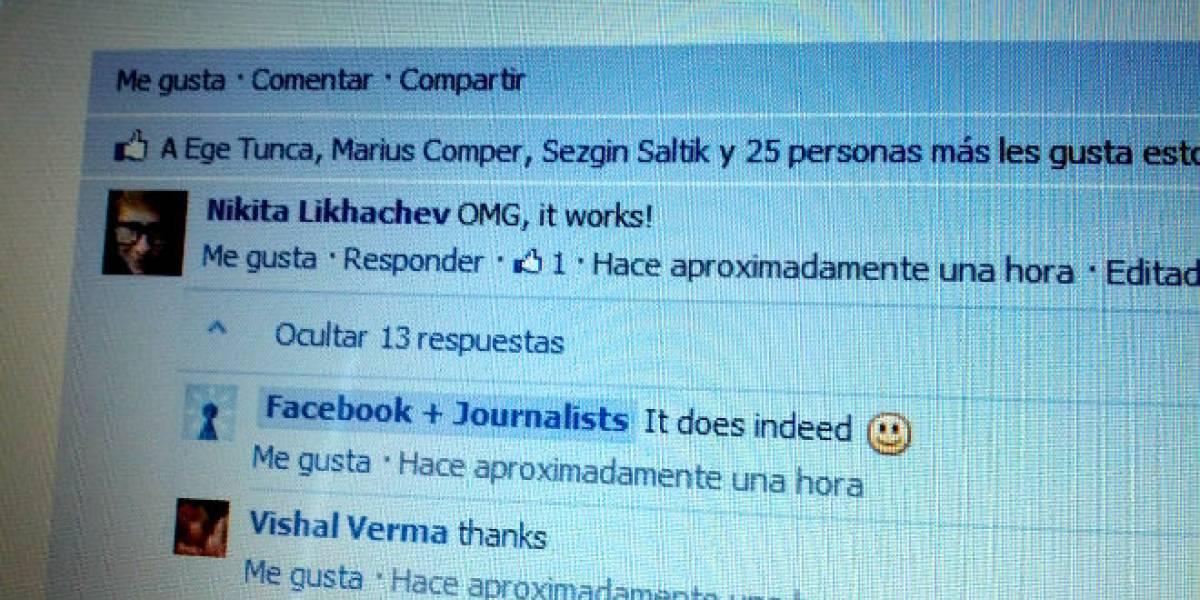 Facebook agregará la opción de responder a un comentario
