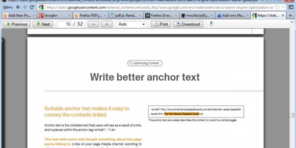Firefox 14 integrará un lector PDF nativo