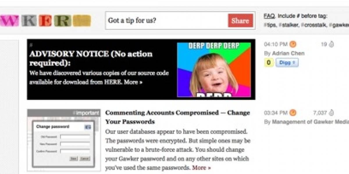 Gawker llama a sus usuarios a cambiar de password tras hackeo
