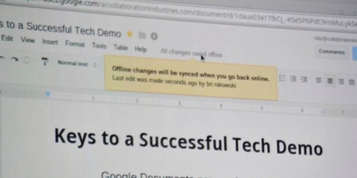 Ahora es posible utilizar Google Docs sin conexión a Internet