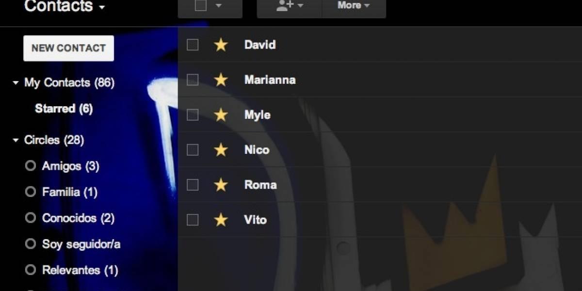 Ahora puedes marcar con una estrella tus contactos en Gmail