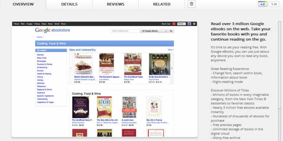 Google eBooks con soporte para lectura offline en Chrome