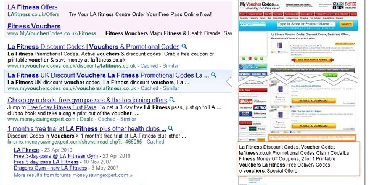 Google prueba la previsualización de sitios en el buscador