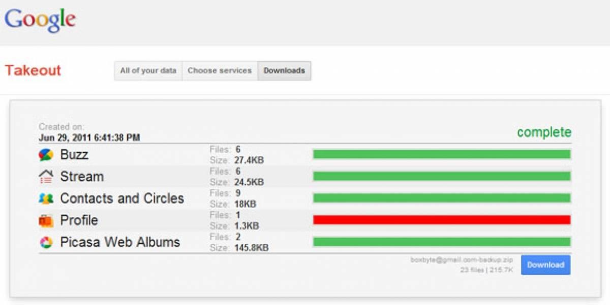 """Google permite exportar datos de sus servicios con """"Takeout"""""""