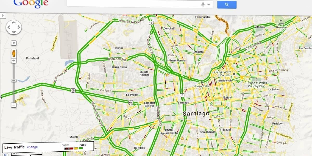 Google Maps ahora muestra las condiciones de tráfico vehicular en Santiago de Chile