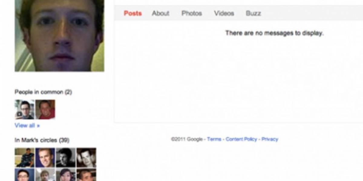 El perfil de Mark Zuckerberg en Google+
