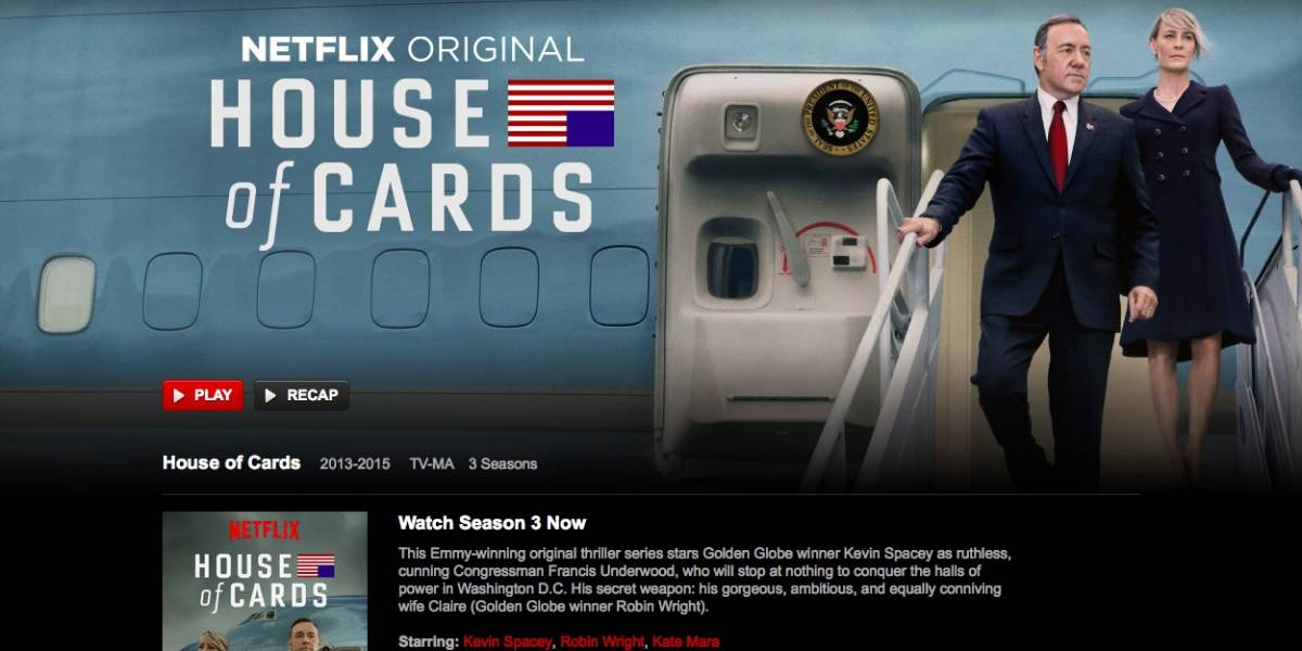 Tercera temporada de House of Cards ya está disponible en Netflix