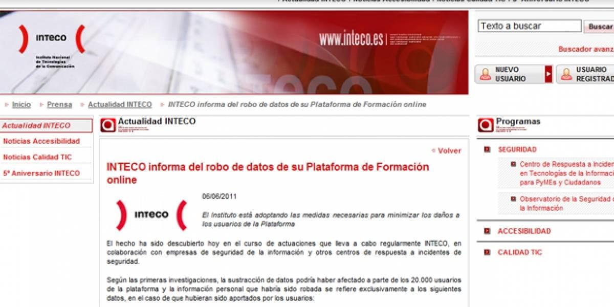España: Roban datos de 20 mil usuarios de la plataforma educativa del Inteco