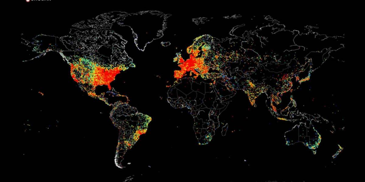 Este mapa muestra todos los dispositivos conectados a internet
