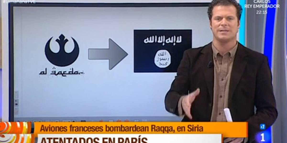 Presentador español confunde logo de Al Qaeda con uno de Star Wars