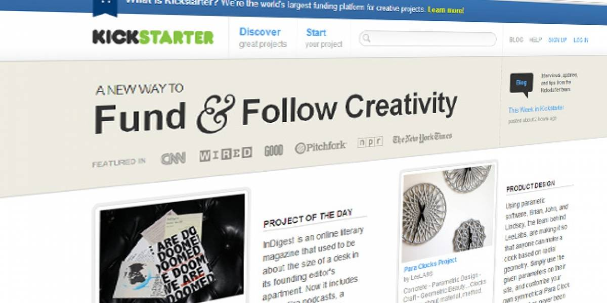 Kickstarter podría alcanzar financiamiento por USD$300 millones en 2012