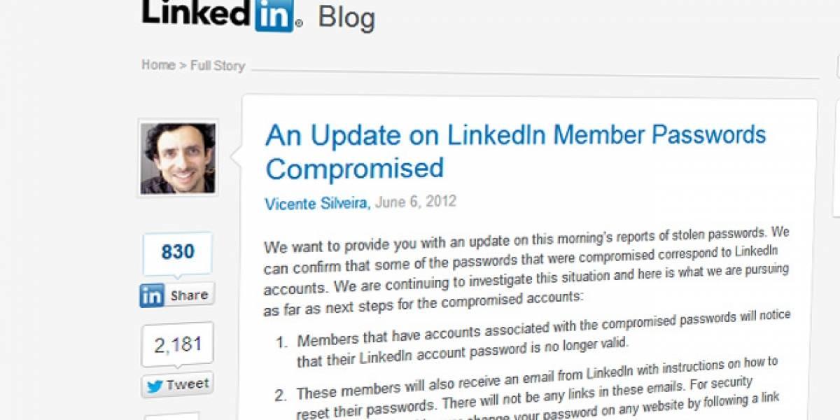 LinkedIn confirma el robo de passwords, usuarios afectados recibirán un e-mail