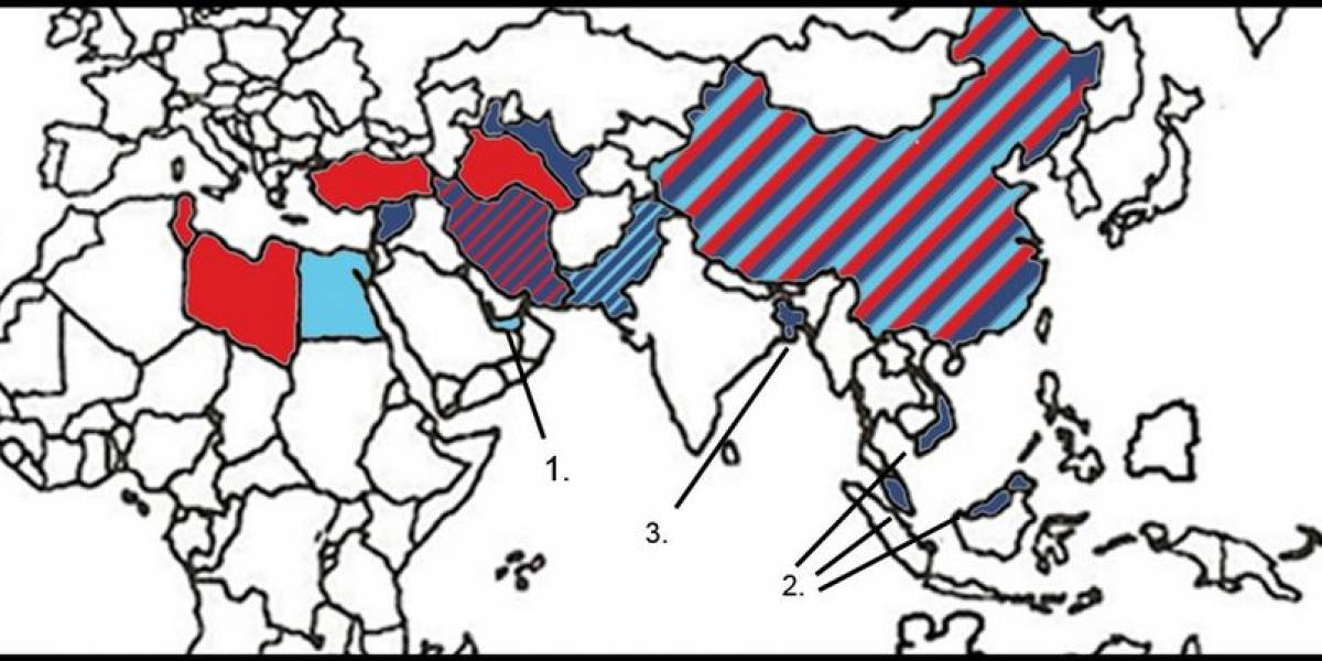 Mapa de los países que prohíben el acceso a YouTube, Facebook y Twitter