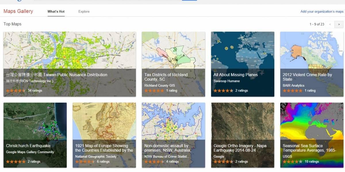 Google lanza galería para que podamos encontrar, crear y compartir mapas personalizados