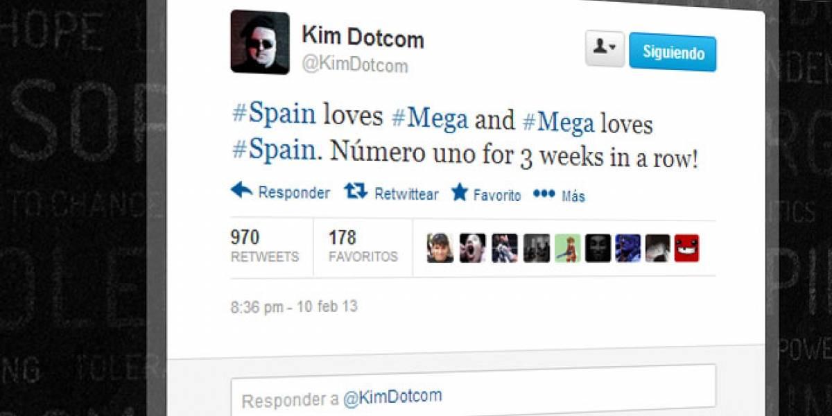 "Dotcom en Twitter: ""España ama a Mega y Mega ama a España"""