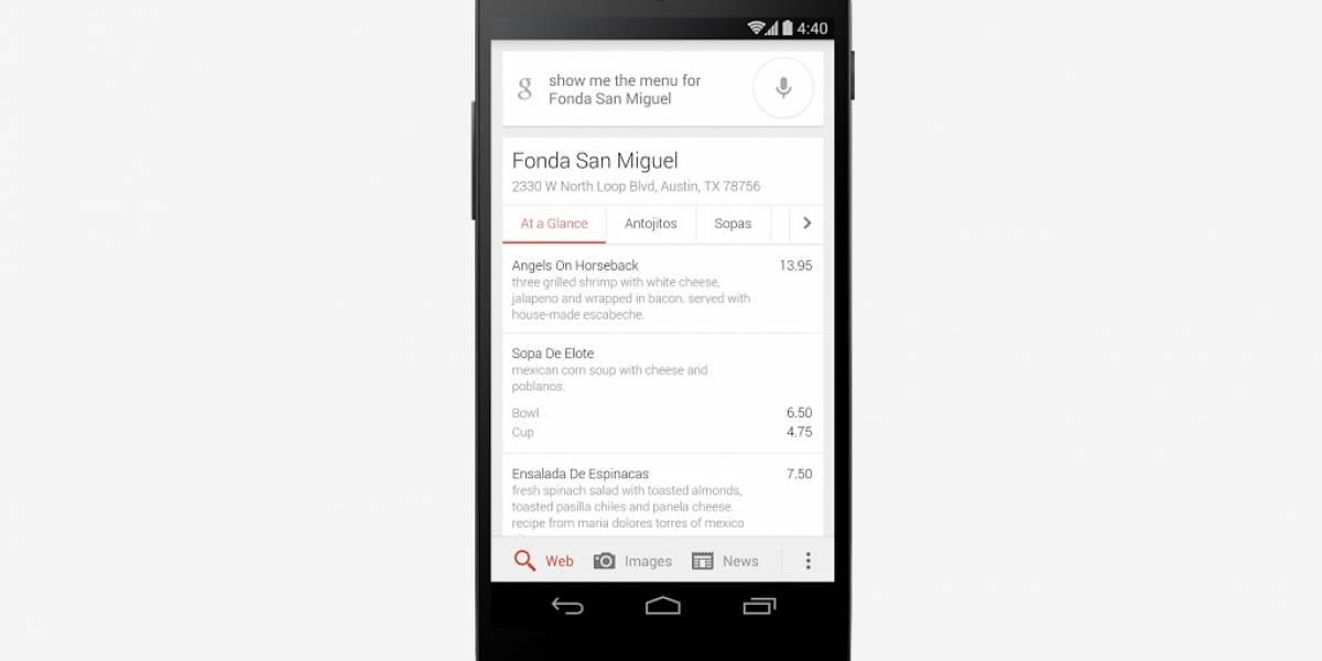 Google agrega menús de restaurantes a sus resultados