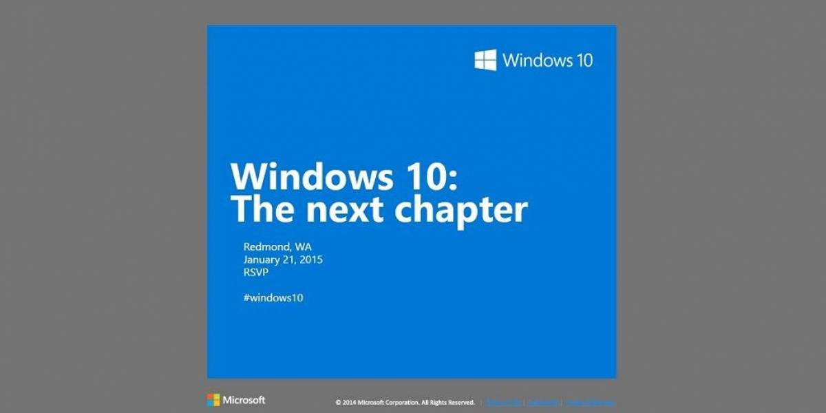 Microsoft confirma que realizará un evento de Windows 10 en enero