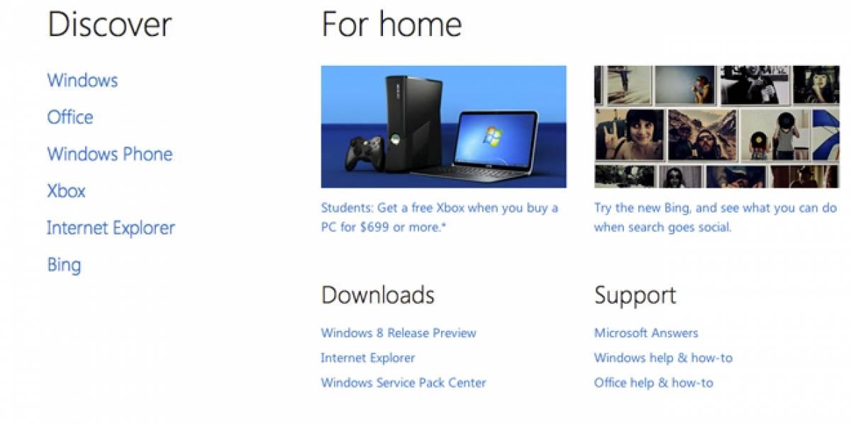Microsoft estrena nuevo sitio web con diseño estilo Metro