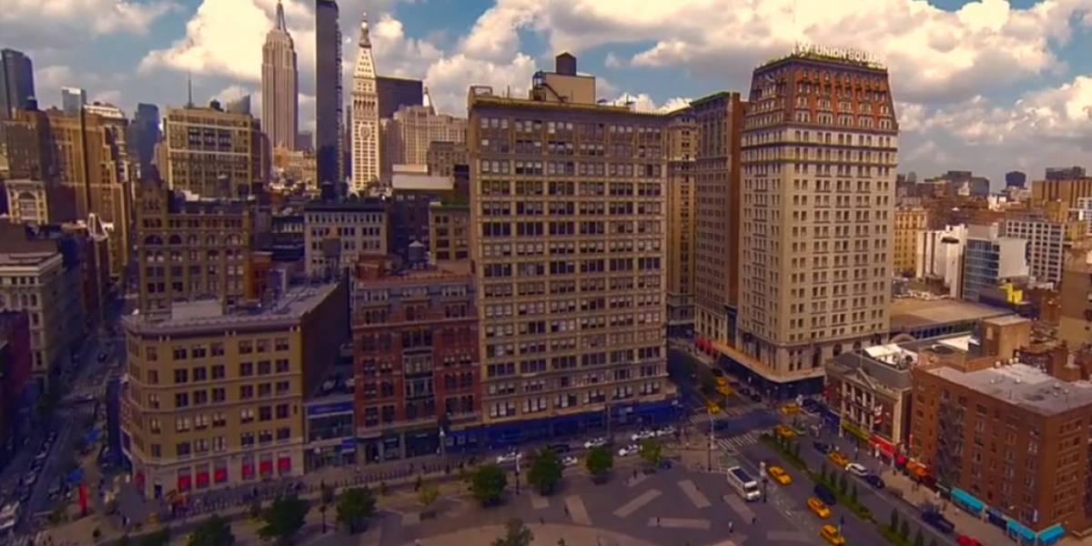 Lugares emblemáticos de Nueva York son capturados con un dron y una GoPro