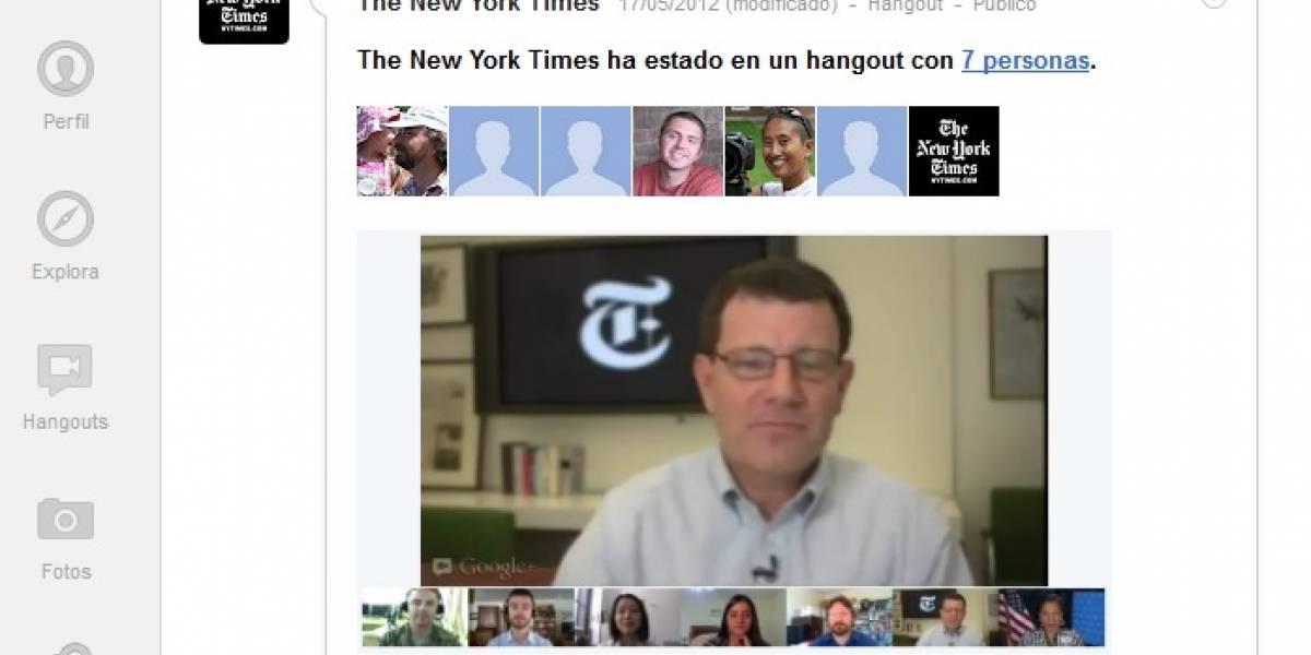 El New York Times testea Google+ Hangouts para convertir a los lectores en periodistas