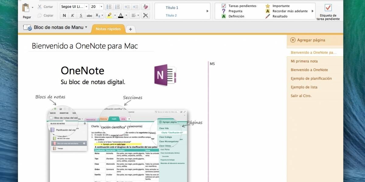 OneNote llega a OS X gratis
