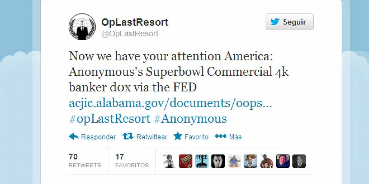 Anonymous filtra datos de 4.000 ejecutivos bancarios de EE.UU.