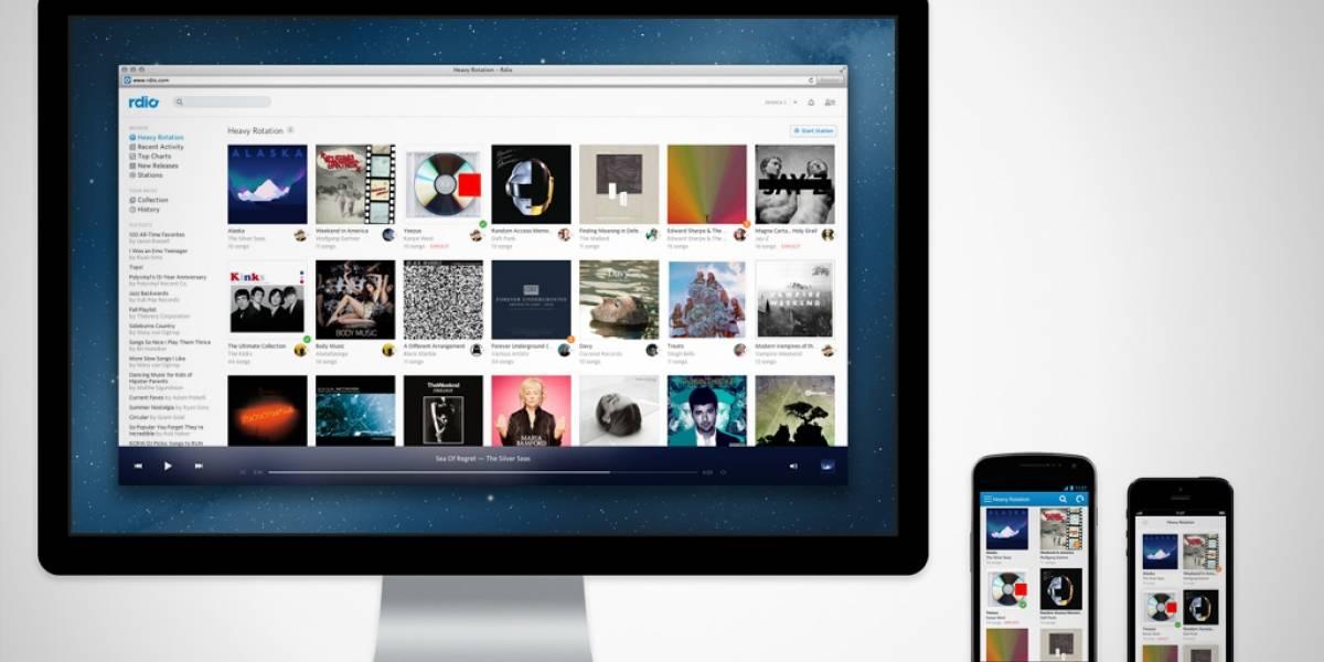 Rdio comienza a ofrecer streaming a través de sus apps móviles en algunos países