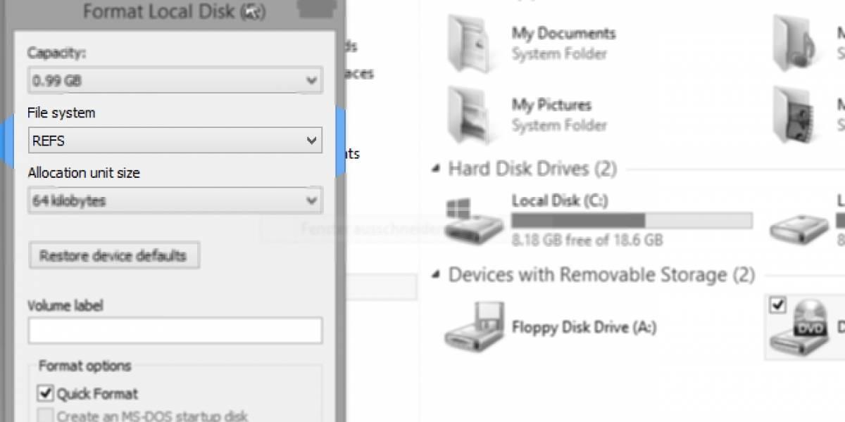 Windows 8.1 tendrá soporte para el sistema de archivos ReFS