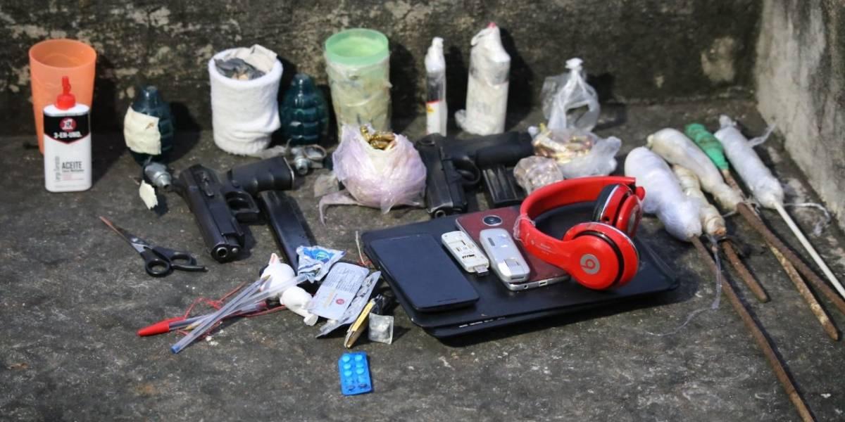 Localizan caletas con granadas, armas y otros ilícitos en el Preventivo de la zona 18