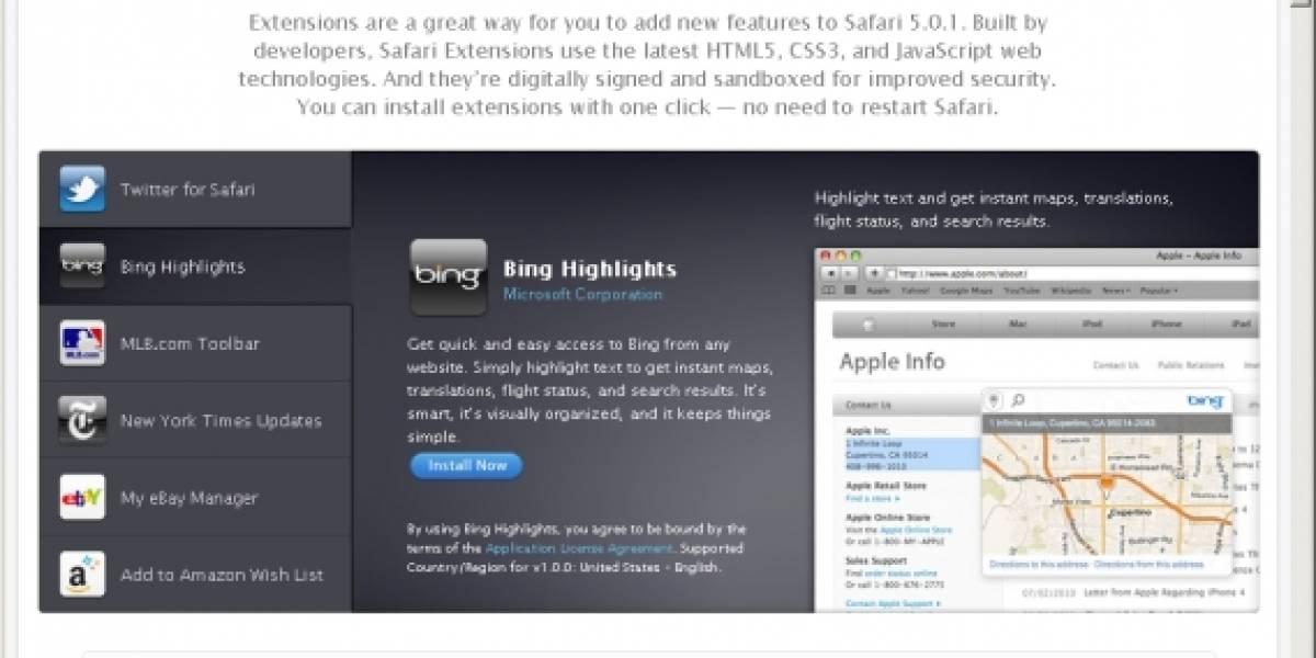Safari 5.0.1 incluye soporte para extensiones