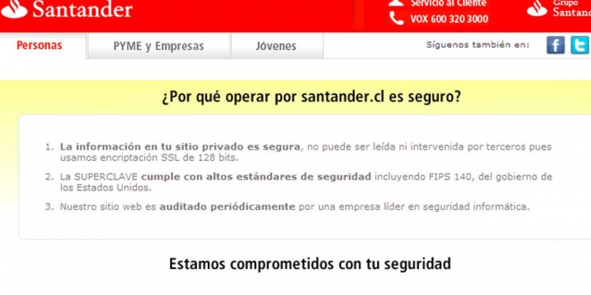 Chile: Vergonzosa falla de seguridad en el sitio de Santander (Actualizado)