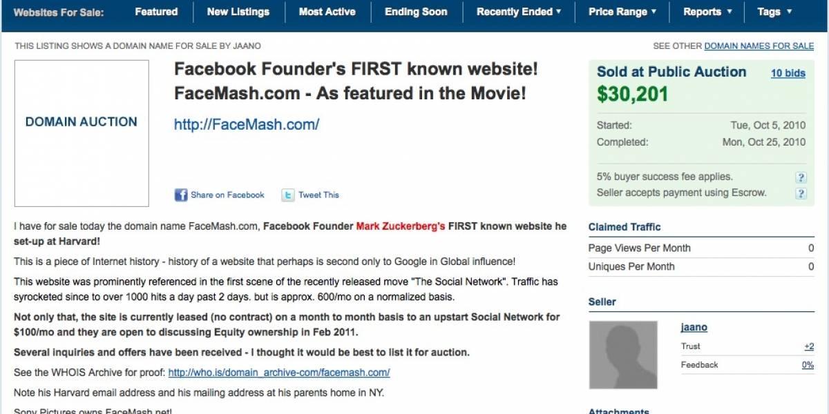 Sitio web creado por Mark Zuckerberg en la universidad se vende por US$ 30 mil