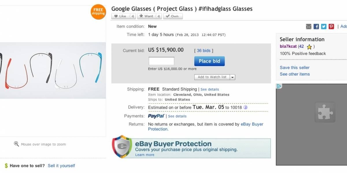 Subasta de un Google Glass por eBay alcanza los US$ 15.900 antes de desaparecer